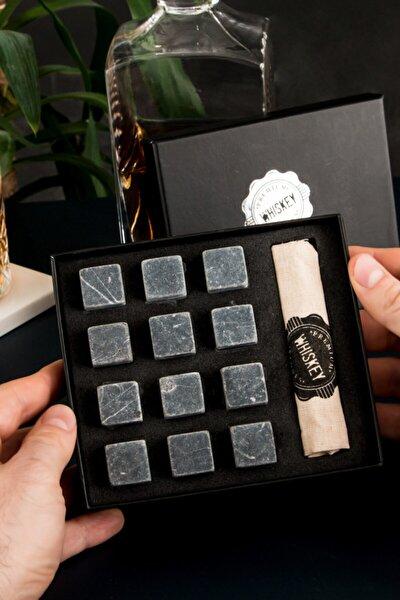 12 Adet Viski Soğutma Taşı Seti - Viski Taşı Kesesi - Doğal Mermer Granit Whiskey Soğutucu Taş