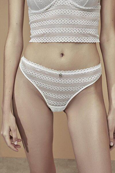 Kar Beyaz Lotus Lace Brazilian Külot