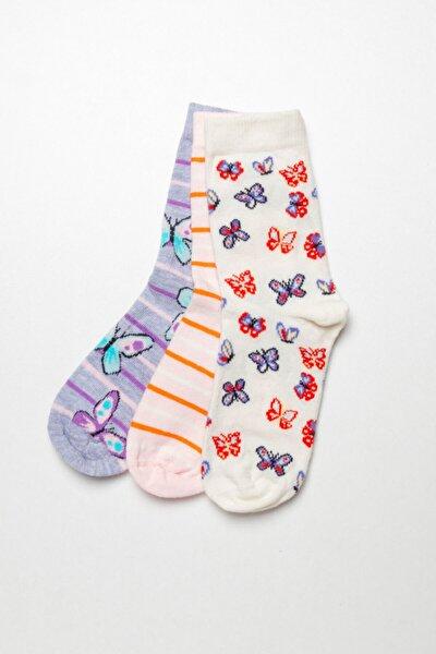 3 lü Paket Kelebek Serisi Çocuk Soket Çorap - Mix