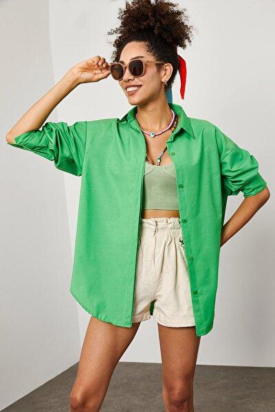 Kadın Yeşil Oversize Uzun Gömlek 1YZK2-11950-08