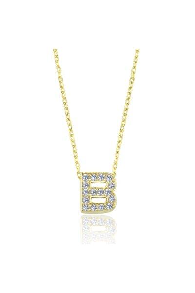 Kadın Zarif Işıltı B Harfi Gold Renk Gümüş Kolye