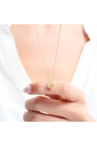 Kadın Gold Renk Zarif Işıltı E Harfi Gümüş Kolye