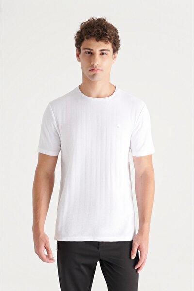 Erkek Beyaz Bisiklet Yaka Jakarlı Slim Fit T-shirt A11y1203