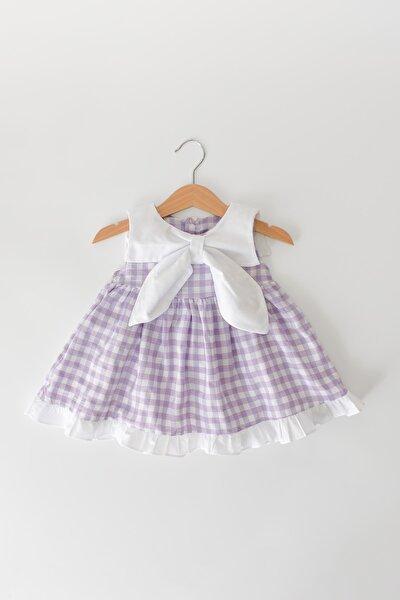Pötikareli Büyük Yakalı Sırttan Çıtçıtlı Pamuklu Elbise Lila