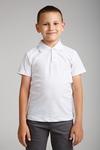 Erkek Çocuk Penye Polo Yaka Beyaz Okul T-shirt