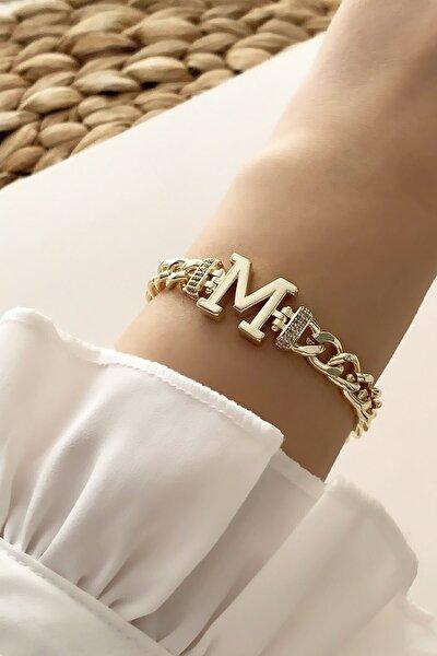 Gold M Harf Bileklik Trbilek7539 B34003