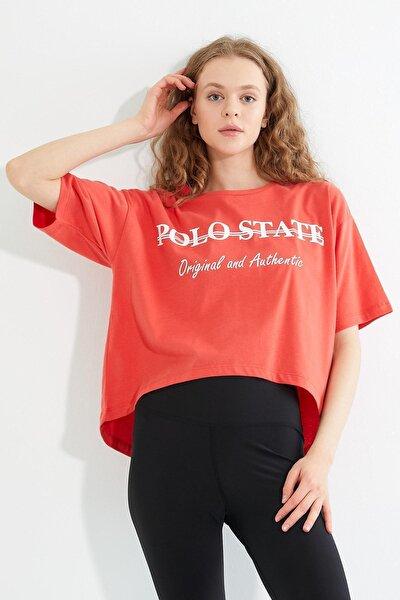 Kadın Baskılı Oversize T-shirt Oranj