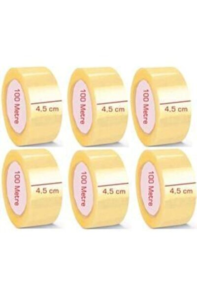 6 Adet 100 Metre Akrilik Koli Bandı 45mmx100 Mt Kopmayan Koli Bandı Güçlü Koli Bandı