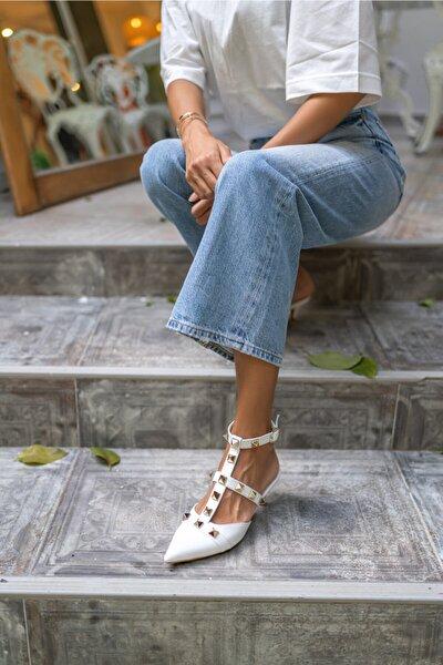 Souzal Kadın Beyaz Ökçeli Sandalet