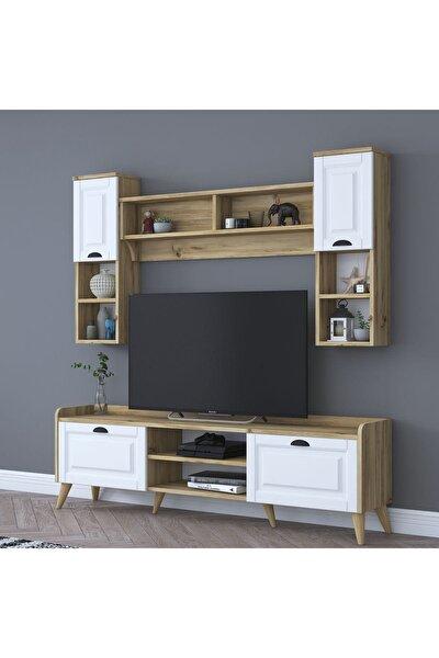 Rani Aa101 Duvar Raflı Kitaplıklı Modern Tv Ünitesi Tv Sehpası Beyaz Keçe Ceviz M2