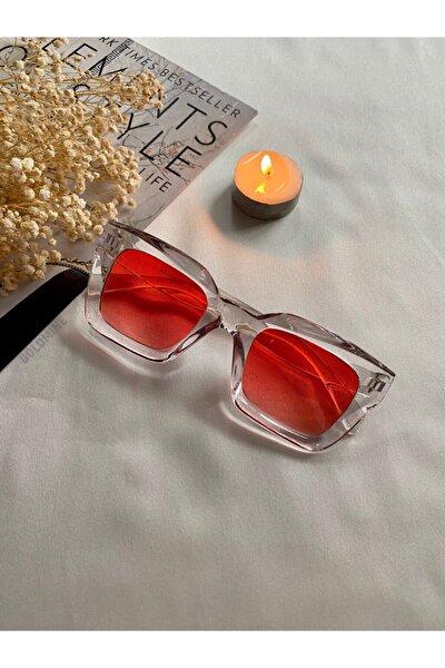 Celine Model Kalın Çerçeveli Tasarım Unisex Güneş Gözlüğü Kristal Kırmızı