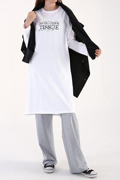 Beyaz Zebra Varak Baskılı Uzun Kollu T-shirt Tunik