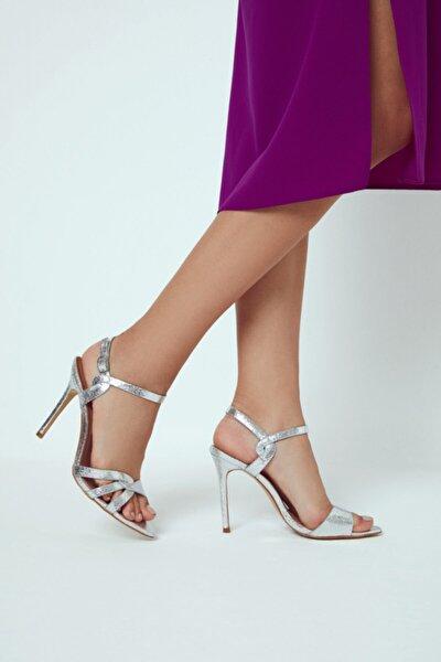 Kadın Gümüş Yüksek Topuklu Sandalet