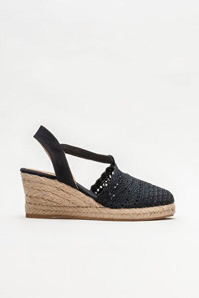 Siyah Kadın Dolgu Topuklu Sandalet