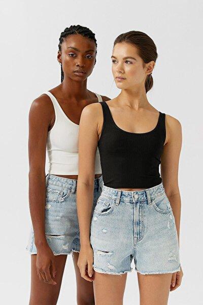 Kadın Siyah Ve Beyaz 2'li Crop Top Paketi