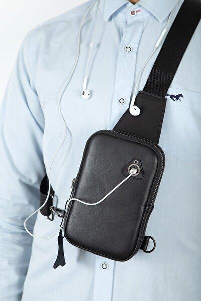 Polo Kulaklık Çıkışlı Hakiki Deri Telefon Bölmeli Çapraz Omuz Çantası