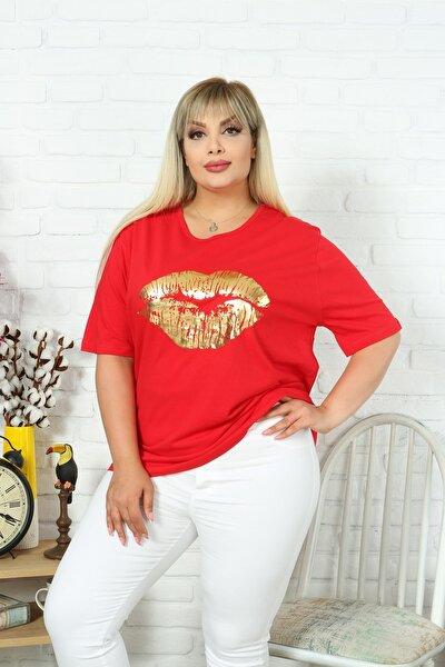 Kadın Büyük Beden Bisiklet Yaka Kısa Kol Dudak Baskılı Pamuklu Kumaş Kırmızı Renk T-shirt