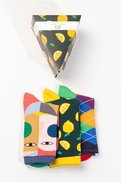 Unisex Sarı Çok Renkli Baskılı Kutulu Çorap 3'lü