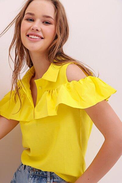 Kadın Sarı Poplin Patlı Fırfırlı Bluz ALC-X6752