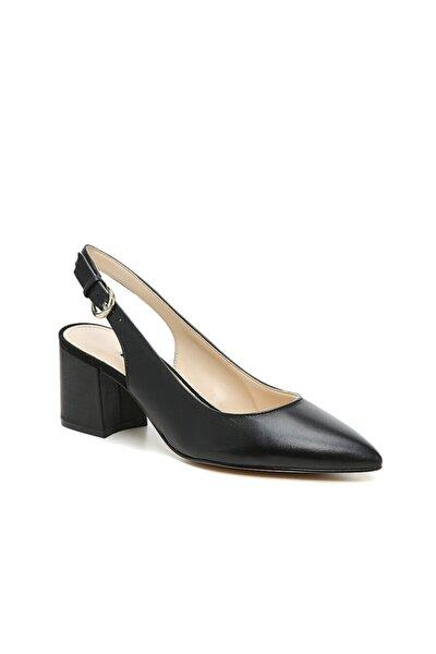 Kadın Siyah Deri Topuklu Ayakkabı 111154