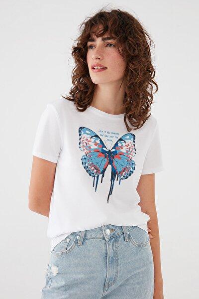 Kadın Kelebek Baskılı Beyaz Tişört 1601005-620