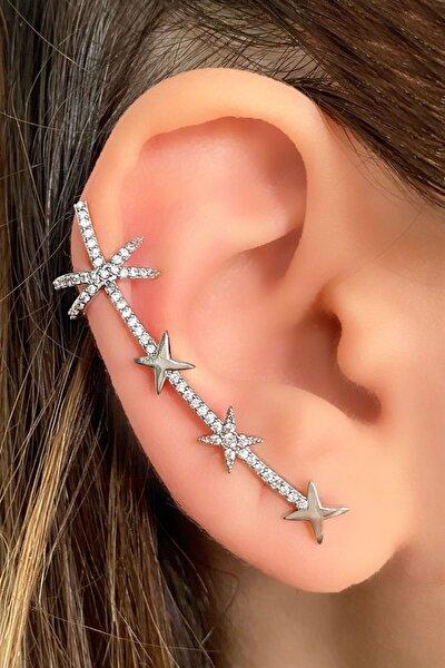 Gümüş Renk Taşlı Kulak Aksesuarı (tek)
