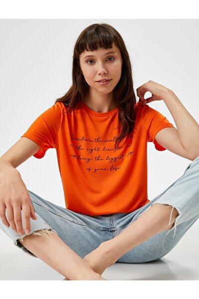 Kadın TURUNCU Sloganli Tisört Pamuklu