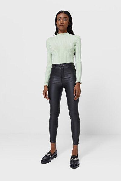 Kadın Siyah Süper Yüksek Bel Mumlu Pantolon 04510723