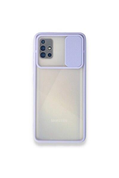 Galaxy A51 Kılıf Slayt Sürgülü Kamera Korumalı Arkası Buzlu Renkli Silikon