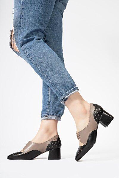 Hakiki Deri Kadın Topuklu Ayakkabı Lazer Kesim Desenli Casual