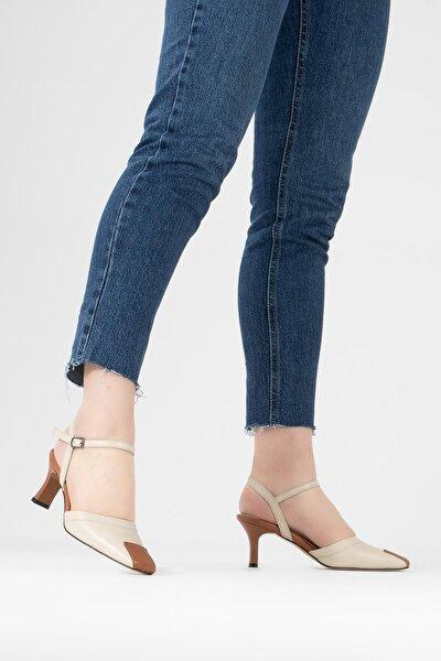 Kadın Bej Hakiki Deri Sandalet Bilekten Kemerli Topuklu Ayakkabı