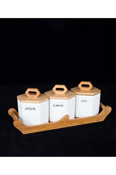 3 Parça Vakumlu Bambu Kapaklı Porselen Baharat Takımı 9581