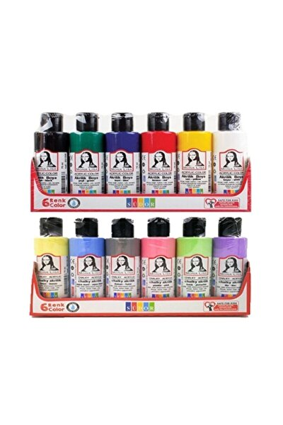 Monalisa Akrilik Boya 12 Renk x 70 ml 6 Ana Renk 6 Pastel Renk