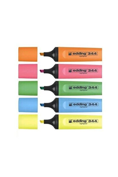 344 Highlighter Fosforlu Işaretleme Kalemi 5 Renk Set F.k
