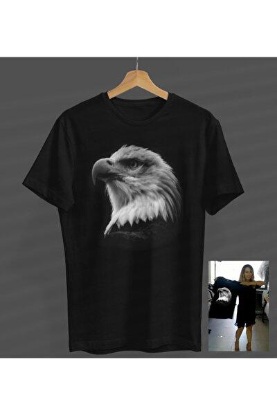Kartal Baskılı Siyah Yuvarlak Yaka T-shirt Kısa Kollu