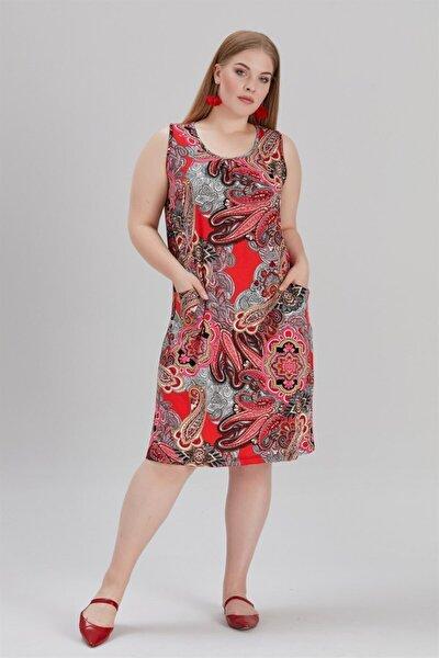 Kadın Büyük Beden Cepli Ve Desenli Elbise Kırmızı