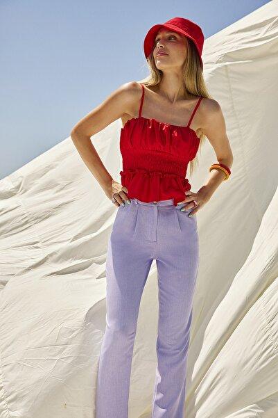 Lila Pileli Bilek Boy Pantolon TWOSS21PL0076