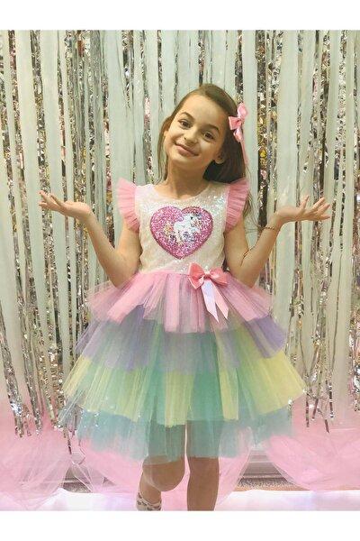 Unicorn Pul Payet Tütü Etekli Kız Çocuk Parti Elbisesi