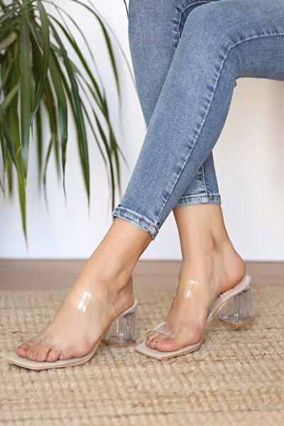 Kadın Krem Topuklu Ayakkabı