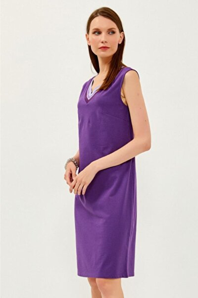 V Yaka Yakası Simli Bantlı Kolsuz Elbise 021-2520