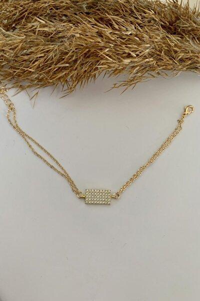 Kadın 925 Ayar Gold Kaplama Zirkon Taşlı Geometrik Zarif Çift Zincirli Bileklik
