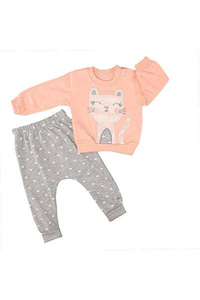 Kedi Nakışlı Kız Bebek Pijama Takımı - Somon - 12-18 Aylık