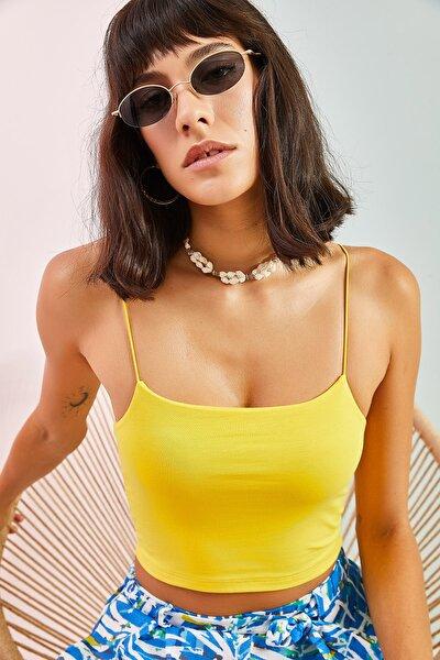 Kadın Sarı İp Askılı Bluz