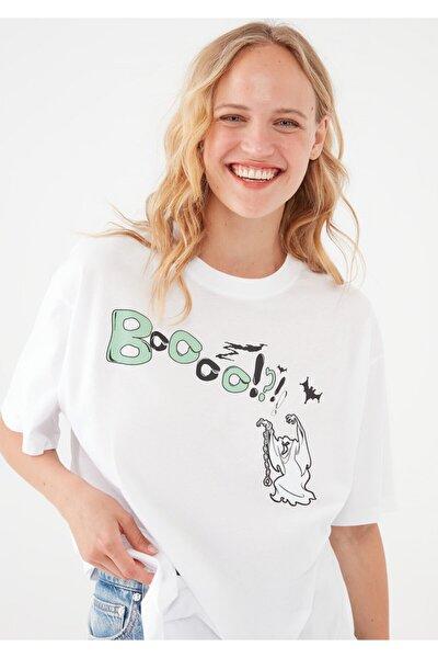 Scooby Doo Baskılı Beyaz Tişört