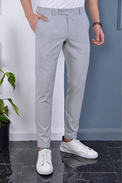 Erkek Gri Italyan Kesim Slimfit Kumaş Pantolon