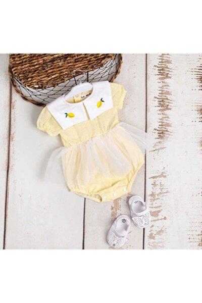 Limon Nakışlı Kız Bebek Tütülü Tulum - Mardelle