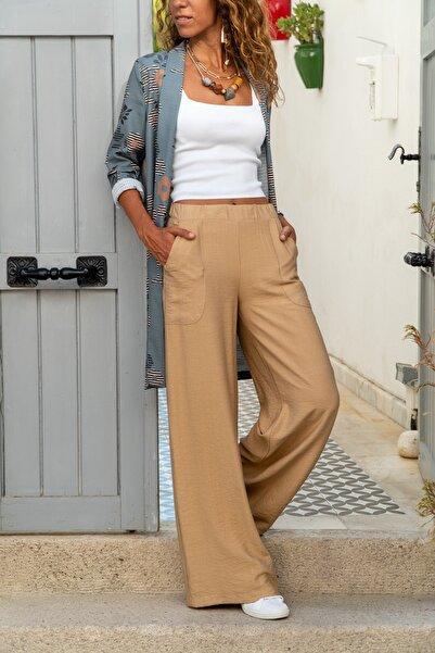 Kadın Bej Keten Beli Lastikli Salaş Pantolon