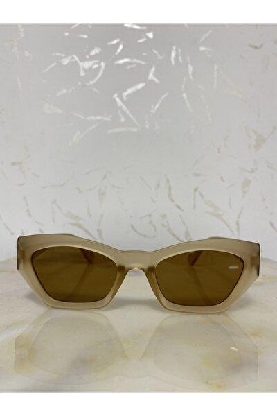 Kadın Mat Bal Rengi Retro Cat Eye Güneş Gözlüğü Zvhrk-2136