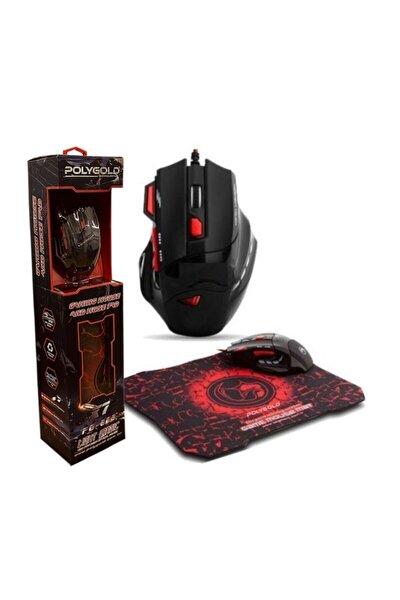 X7 Işıklı Oyuncu Mouse Mousepad Kırmızı