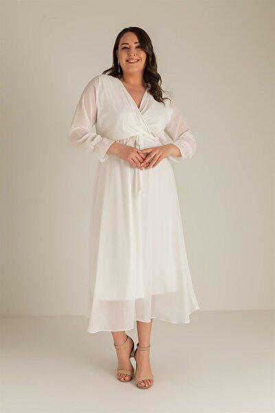 Kadın  Büyük Beden Uzun Şifon Elbise